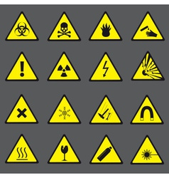 Yellow and black danger and warning signs set vector