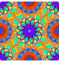 Geometric multicolor fractal mandala seamless vector