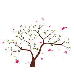 beautiful tree with birds vector image