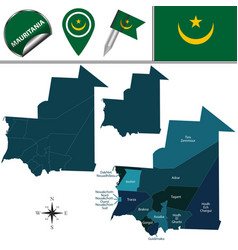 Map of mauritania with named regions vector