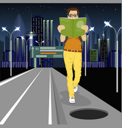 young man is absorbed in book vector image