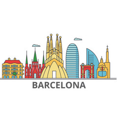 Barcelona city skyline buildings streets vector