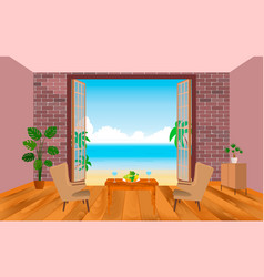 Interior of resort hotel room with armchairs vector