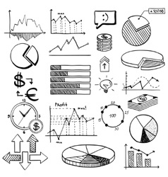 business finance doodle hand drawn elements with vector image