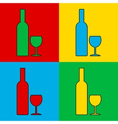 Pop art bottle and glasse vector