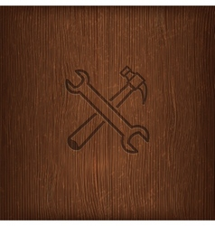 Vintage with a hammer and a wrench icon on wood vector