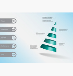 3d infographic template with cone divided to five vector