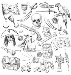 Pirates set hand drawn vector