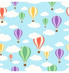 Air balloons in the sky seamless pattern vector