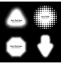 Set of white abstract halftone design elements vector