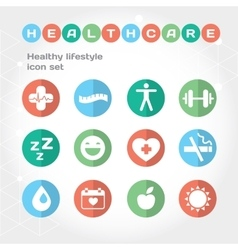 Medical and healthcare flat round icon set vector