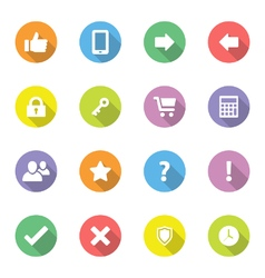 Colorful flat icon set 2 on circle long shadow vector