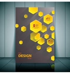 Yellow hexahedrons business flyer template vector