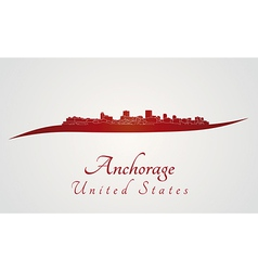 Anchorage skyline in red vector