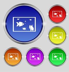 Aquarium Fish in water icon sign Round symbol on vector image