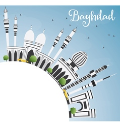 Baghdad skyline with gray buildings vector