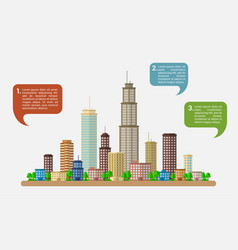 Big city with speech bubbles vector