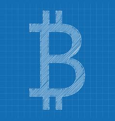 Bitcoin icon grey color blueprint background vector