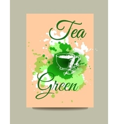 Business card flyer or brochure with green tea vector image