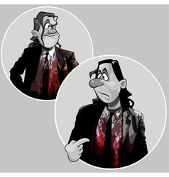 cartoon man in a suit covered with blood vector image vector image