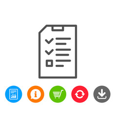 Checklist document line icon file sign vector