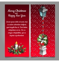 Christmas street lamp on a red background vector image