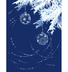 christmas tree branch in blue vector image vector image