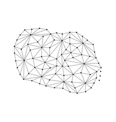 cook islands map of polygonal mosaic lines network vector image