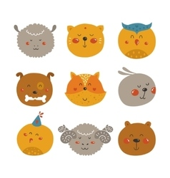 Cute Animal avatars vector image