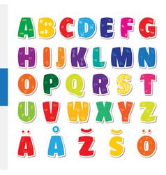 cute funny childish finnish alphabet font vector image vector image