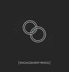 Engagement rings outline icon isolated vector