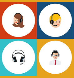 Flat icon center set of help call center service vector