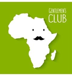 Fun moustache flat cartoon africa map gentleman vector