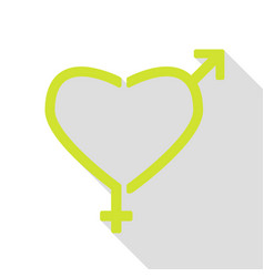 Gender signs in heart shape pear icon with flat vector