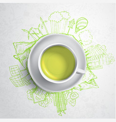 Green tea with circle ecology doodles sketched vector
