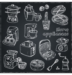 Home appliances themed doodle set vector