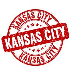 Kansas city red grunge round vintage rubber stamp vector