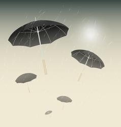 Many black umbrellas and rainy day background vector