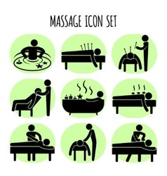 Massage black icons set vector