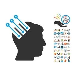 Neuro interface icon with 2017 year bonus vector