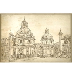 original digital drawing of Rome Italy cityscape vector image
