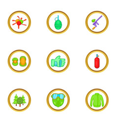 Paintball game icons set cartoon style vector