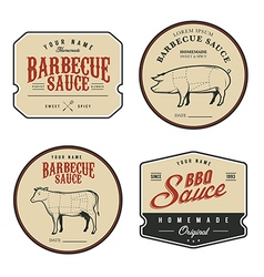 Set of vintage homemade barbecue sauce labels vector image vector image