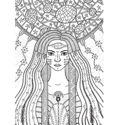 Shaman boho girl with floral and waterdrop hair on vector