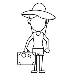 Traveler woman hat suitcase thin line vector