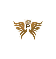 wing shield crown initial p vector image