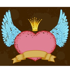 winged heart banner with crown vector image vector image