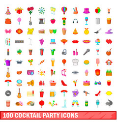 100 cocktail party icons set cartoon style vector