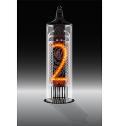 Digit 2 on vintage vacuum tube display vector