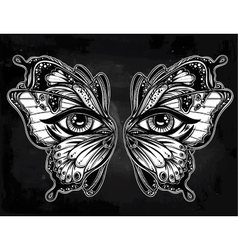 Beautiful butterfly wings mask with eyes vector